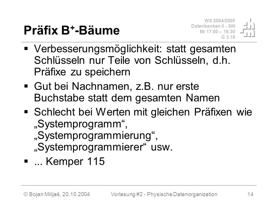 WS 2004/2005 Datenbanken II - 5W Mi 17:00 – 18:30 G 3.18 © Bojan Milijaš, 20.10.2004Vorlesung #2 - Physische Datenorganization14 Präfix B + -Bäume Ver
