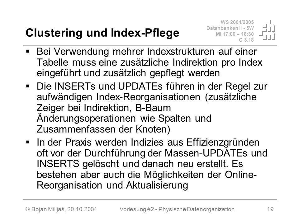 WS 2004/2005 Datenbanken II - 5W Mi 17:00 – 18:30 G 3.18 © Bojan Milijaš, 20.10.2004Vorlesung #2 - Physische Datenorganization19 Clustering und Index-