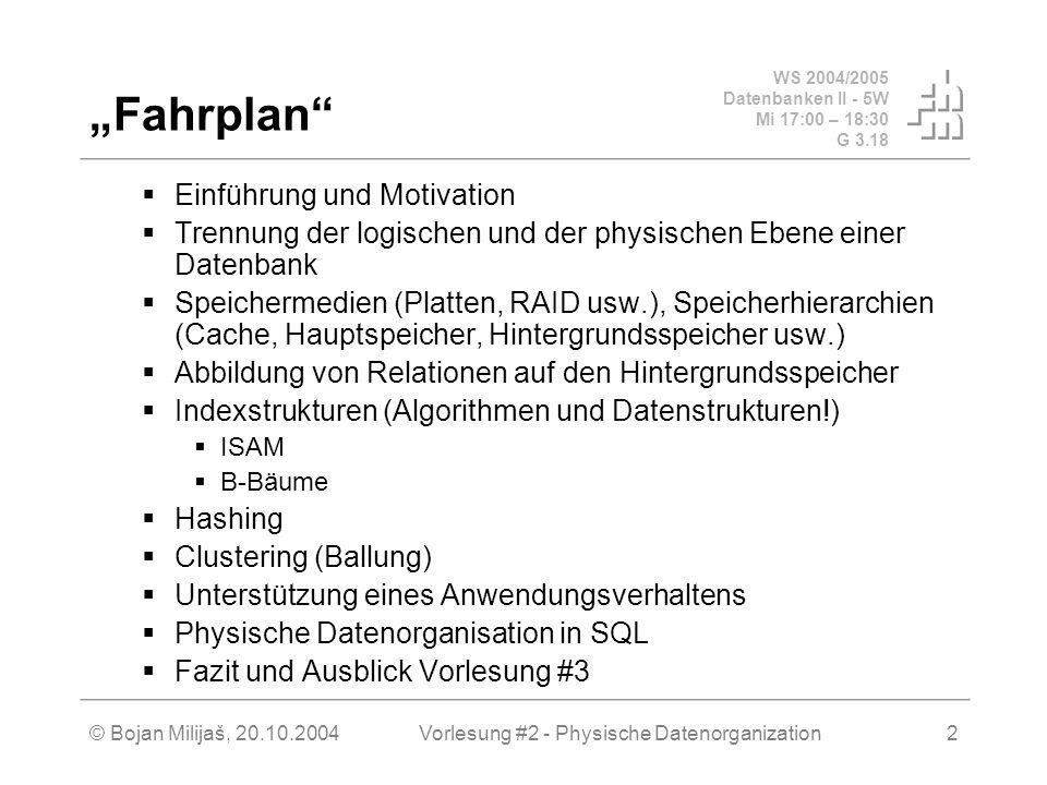 WS 2004/2005 Datenbanken II - 5W Mi 17:00 – 18:30 G 3.18 © Bojan Milijaš, 20.10.2004Vorlesung #2 - Physische Datenorganization2 Fahrplan Einführung un