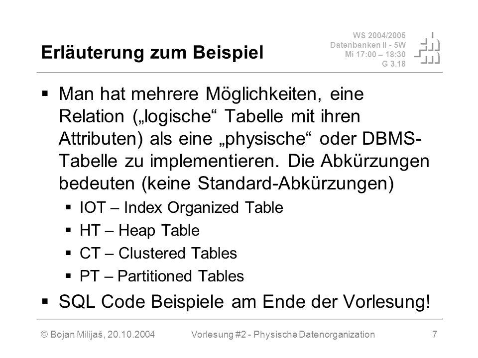 WS 2004/2005 Datenbanken II - 5W Mi 17:00 – 18:30 G 3.18 © Bojan Milijaš, 20.10.2004Vorlesung #2 - Physische Datenorganization18 Clustering Ballung von Datensätzen Oft selektierte Datensätze sollten idealerweise physikalisch auf einer Seite abgespeichert werden Die Tupeln einer Relation werden sortiert nach den Werten eines Attributs physikalisch abgelegt Problem: es wird oft über mehrere Attribute abgefragt Lösung: Zusammenspiel zwischen mehreren Indexstrukturen und Clustering Weitere Möglichkeit für Clustering: Materialisierung von Beziehung (Join Clusters) Bsp: Professoren werden verzahnt mit Vorlesungen abgespeichert (verzahnte Objektballung)...