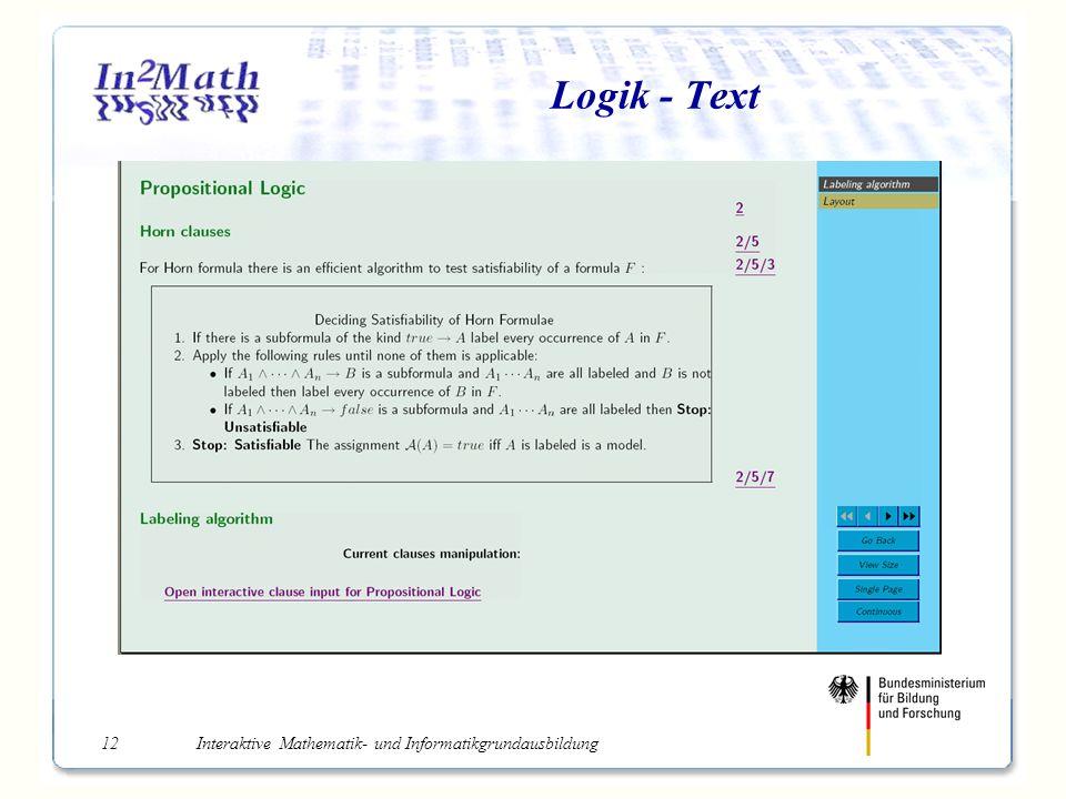 Interaktive Mathematik- und Informatikgrundausbildung12 Logik - Text