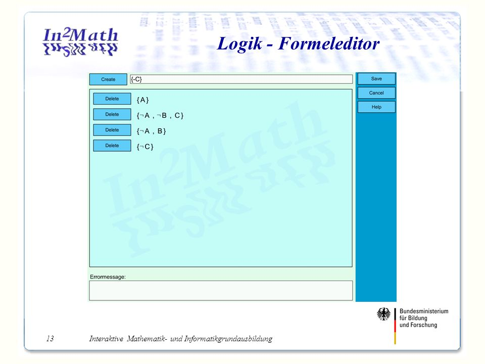 Interaktive Mathematik- und Informatikgrundausbildung13 Logik - Formeleditor