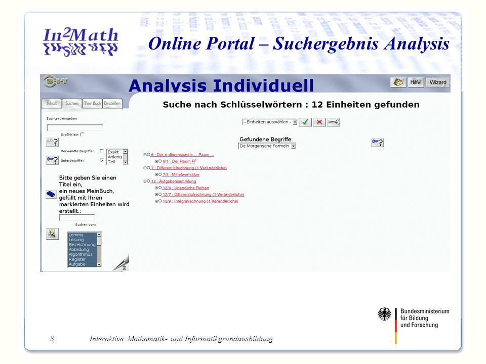 Interaktive Mathematik- und Informatikgrundausbildung8 Online Portal – Suchergebnis Analysis