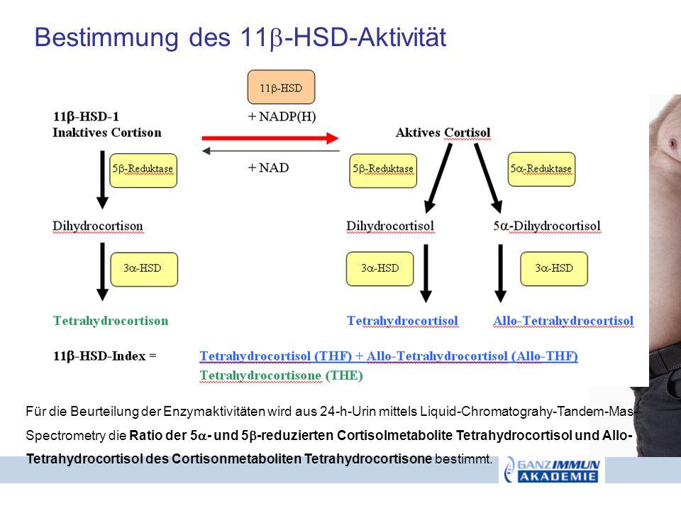 Bestimmung des 11 -HSD-Aktivität Für die Beurteilung der Enzymaktivitäten wird aus 24-h-Urin mittels Liquid-Chromatograhy-Tandem-Mas- Spectrometry die