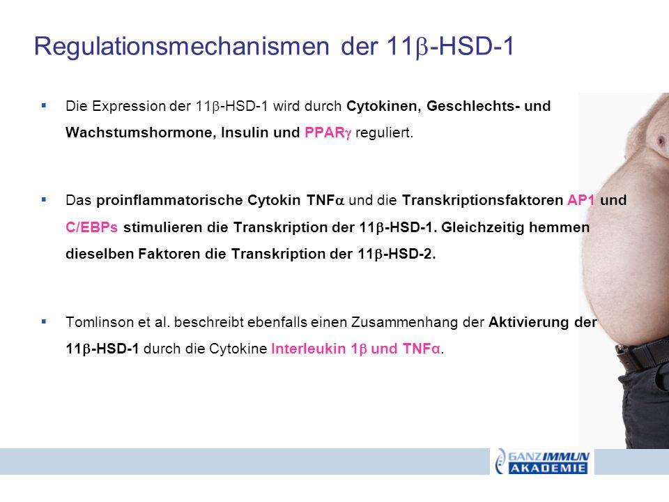 Regulationsmechanismen der 11 -HSD-1 Die Expression der 11 -HSD-1 wird durch Cytokinen, Geschlechts- und Wachstumshormone, Insulin und PPAR reguliert.