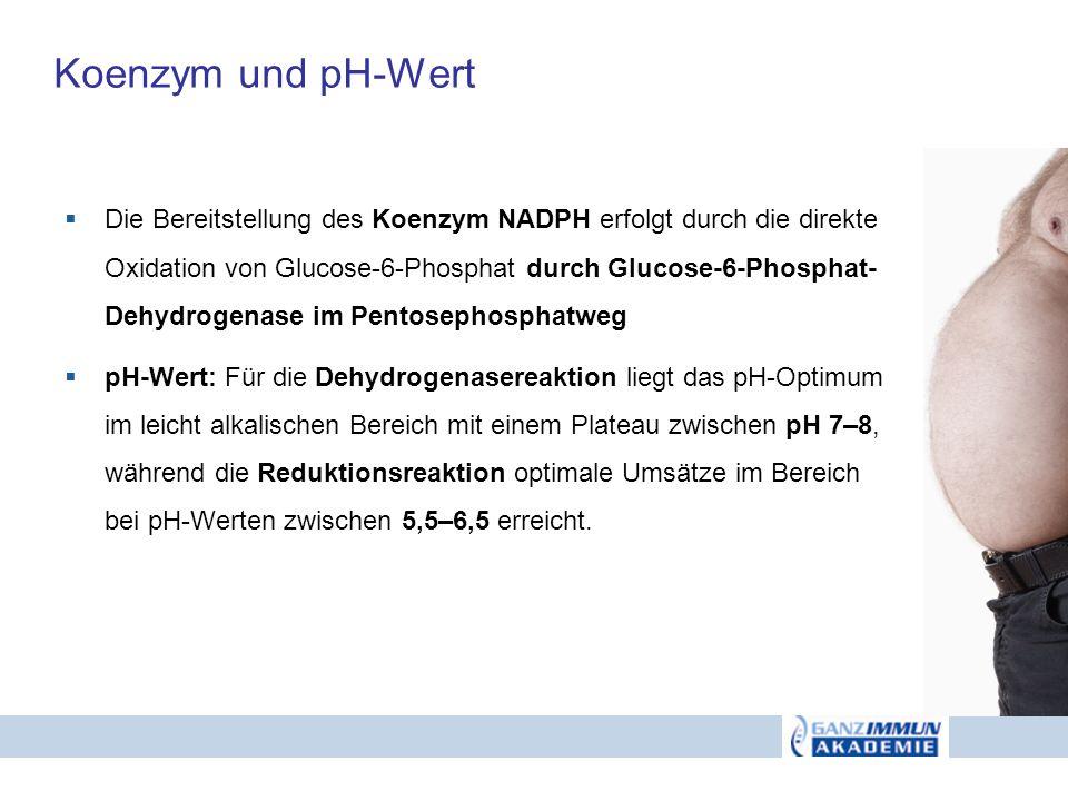 Koenzym und pH-Wert Die Bereitstellung des Koenzym NADPH erfolgt durch die direkte Oxidation von Glucose-6-Phosphat durch Glucose-6-Phosphat- Dehydrog