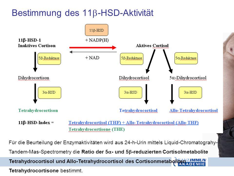 Bestimmung des 11 -HSD-Aktivität Für die Beurteilung der Enzymaktivitäten wird aus 24-h-Urin mittels Liquid-Chromatograhy- Tandem-Mas-Spectrometry die