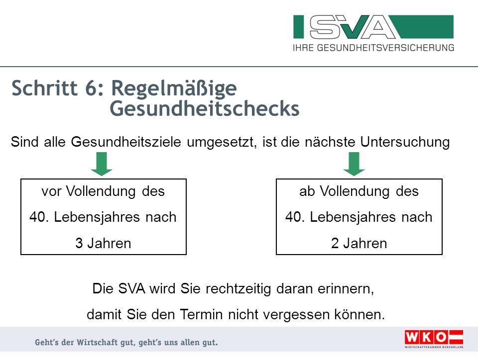 Schritt 6: Regelmäßige Gesundheitschecks Sind alle Gesundheitsziele umgesetzt, ist die nächste Untersuchung Die SVA wird Sie rechtzeitig daran erinner