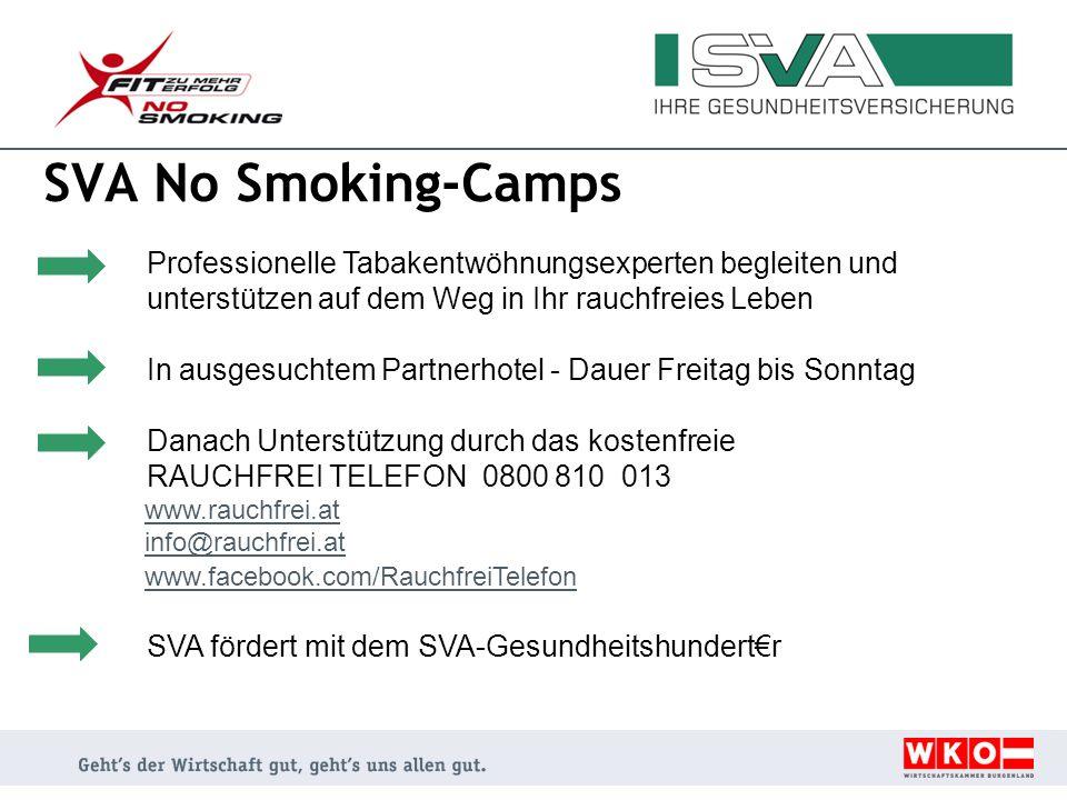 SVA No Smoking-Camps Professionelle Tabakentwöhnungsexperten begleiten und unterstützen auf dem Weg in Ihr rauchfreies Leben In ausgesuchtem Partnerho