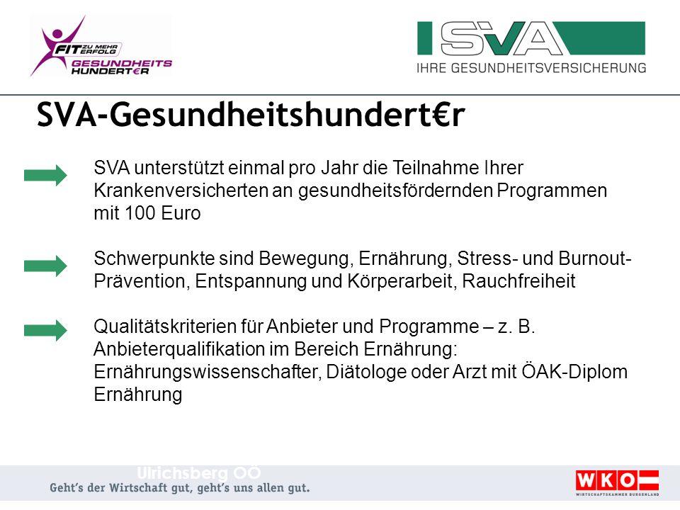 SVA-Gesundheitshundertr SVA unterstützt einmal pro Jahr die Teilnahme Ihrer Krankenversicherten an gesundheitsfördernden Programmen mit 100 Euro Schwe