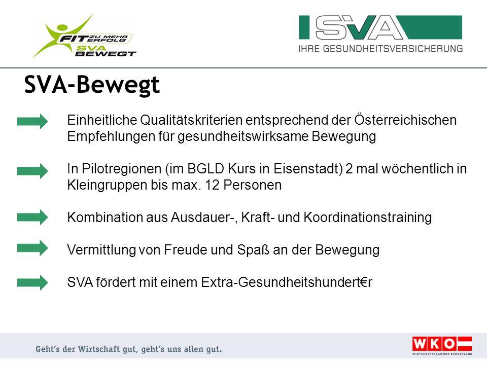 SVA-Bewegt Einheitliche Qualitätskriterien entsprechend der Österreichischen Empfehlungen für gesundheitswirksame Bewegung In Pilotregionen (im BGLD K