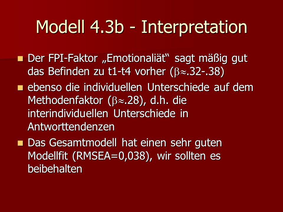 Modell 4.3b - Interpretation Der FPI-Faktor Emotionaliät sagt mäßig gut das Befinden zu t1-t4 vorher (.32-.38) Der FPI-Faktor Emotionaliät sagt mäßig