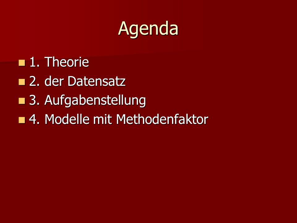 Agenda 1. Theorie 1. Theorie 2. der Datensatz 2. der Datensatz 3. Aufgabenstellung 3. Aufgabenstellung 4. Modelle mit Methodenfaktor 4. Modelle mit Me