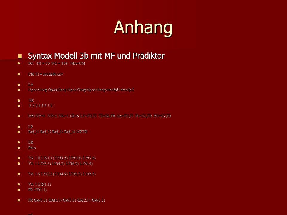 Anhang Syntax Modell 3b mit MF und Prädiktor Syntax Modell 3b mit MF und Prädiktor DA NI = 10 NO = 503 MA=CM DA NI = 10 NO = 503 MA=CM CM FI = modell6