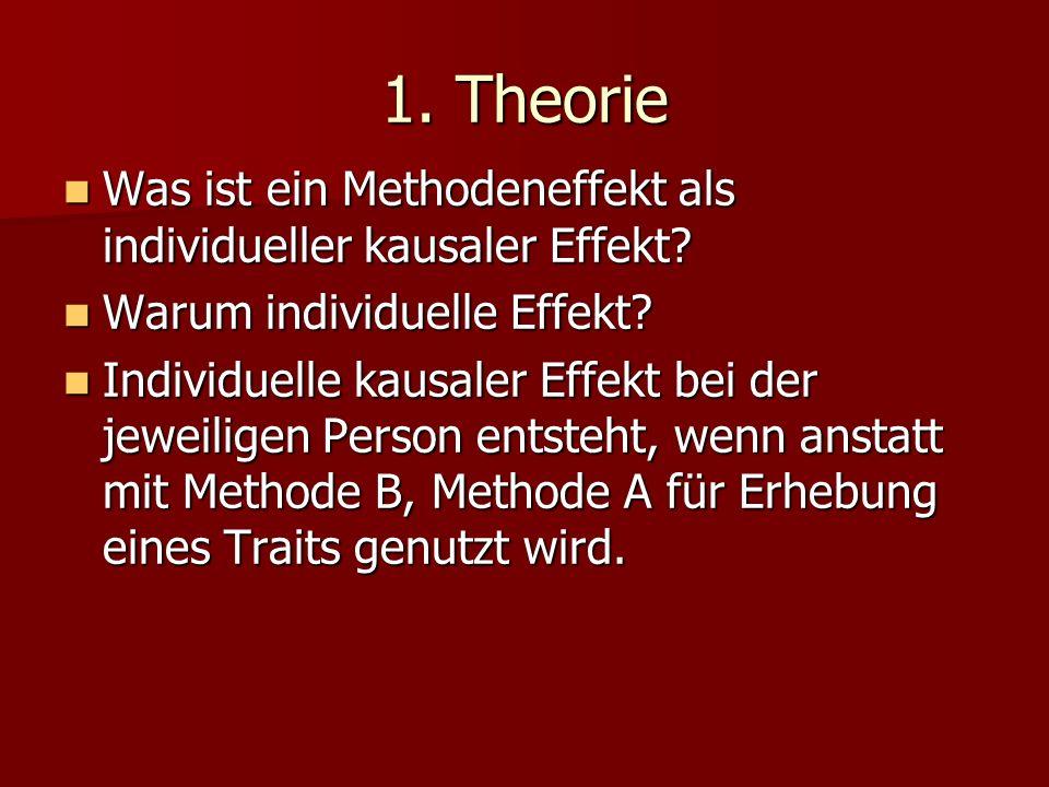 1. Theorie Was ist ein Methodeneffekt als individueller kausaler Effekt? Was ist ein Methodeneffekt als individueller kausaler Effekt? Warum individue