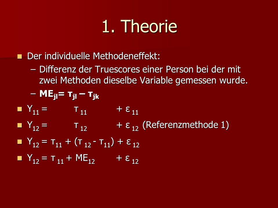 1. Theorie Der individuelle Methodeneffekt: Der individuelle Methodeneffekt: –Differenz der Truescores einer Person bei der mit zwei Methoden dieselbe