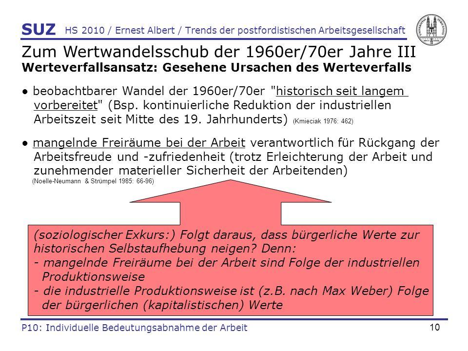 10 HS 2010 / Ernest Albert / Trends der postfordistischen Arbeitsgesellschaft SUZ P10: Individuelle Bedeutungsabnahme der Arbeit Zum Wertwandelsschub