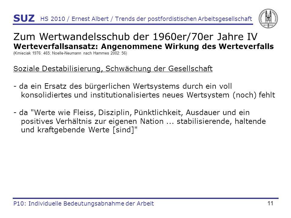 11 HS 2010 / Ernest Albert / Trends der postfordistischen Arbeitsgesellschaft SUZ P10: Individuelle Bedeutungsabnahme der Arbeit Zum Wertwandelsschub