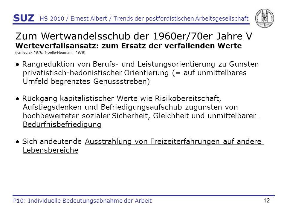 12 HS 2010 / Ernest Albert / Trends der postfordistischen Arbeitsgesellschaft SUZ P10: Individuelle Bedeutungsabnahme der Arbeit Zum Wertwandelsschub