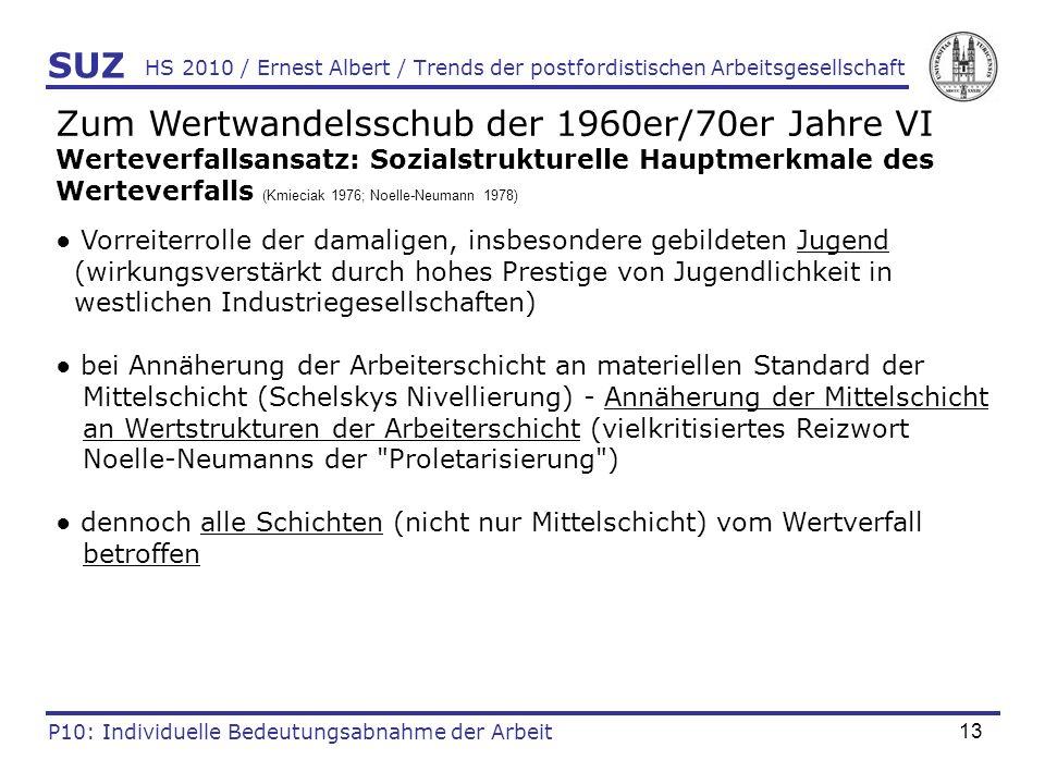 13 HS 2010 / Ernest Albert / Trends der postfordistischen Arbeitsgesellschaft SUZ P10: Individuelle Bedeutungsabnahme der Arbeit Zum Wertwandelsschub