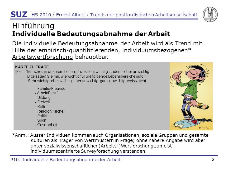 23 HS 2010 / Ernest Albert / Trends der postfordistischen Arbeitsgesellschaft SUZ P10: Individuelle Bedeutungsabnahme der Arbeit Analysen: Wichtigkeit von Arbeit im Leben III (Albert: work in progress)