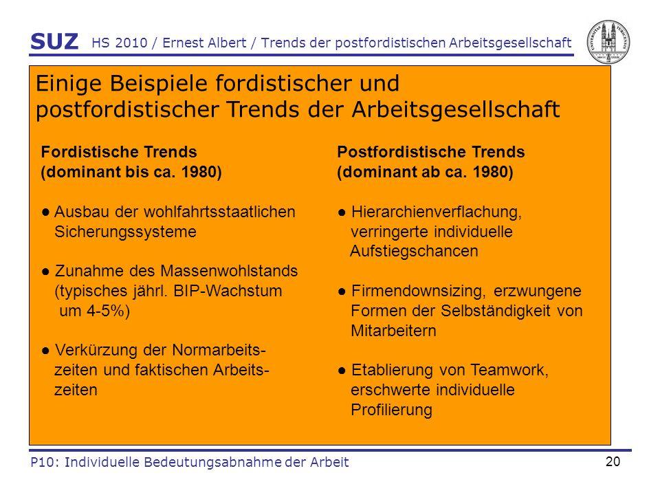 20 HS 2010 / Ernest Albert / Trends der postfordistischen Arbeitsgesellschaft SUZ P10: Individuelle Bedeutungsabnahme der Arbeit Einige Beispiele ford