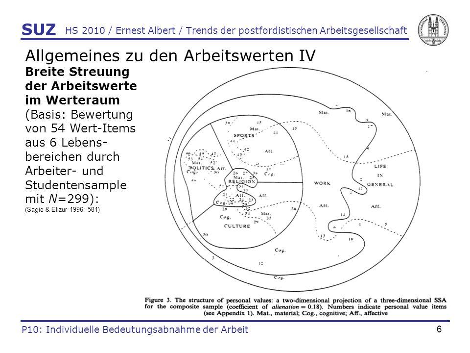 6 HS 2010 / Ernest Albert / Trends der postfordistischen Arbeitsgesellschaft SUZ P10: Individuelle Bedeutungsabnahme der Arbeit Allgemeines zu den Arb