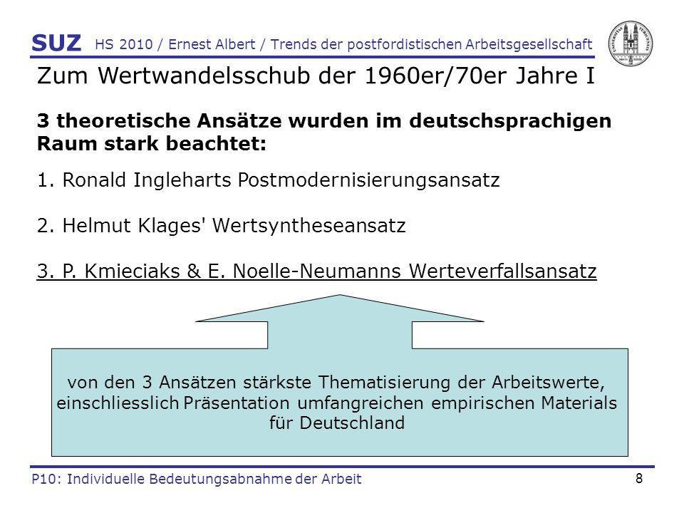 9 HS 2010 / Ernest Albert / Trends der postfordistischen Arbeitsgesellschaft SUZ P10: Individuelle Bedeutungsabnahme der Arbeit Zum Wertwandelsschub der 1960er/70er Jahre II Werteverfallsansatz: beobachtbarer Wertwandel der 1960er/ 70er Jahre wird als Verfall bürgerlicher Werte interpretiert.