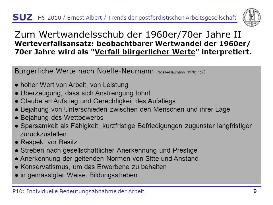 20 HS 2010 / Ernest Albert / Trends der postfordistischen Arbeitsgesellschaft SUZ P10: Individuelle Bedeutungsabnahme der Arbeit Einige Beispiele fordistischer und postfordistischer Trends der Arbeitsgesellschaft Fordistische Trends (dominant bis ca.