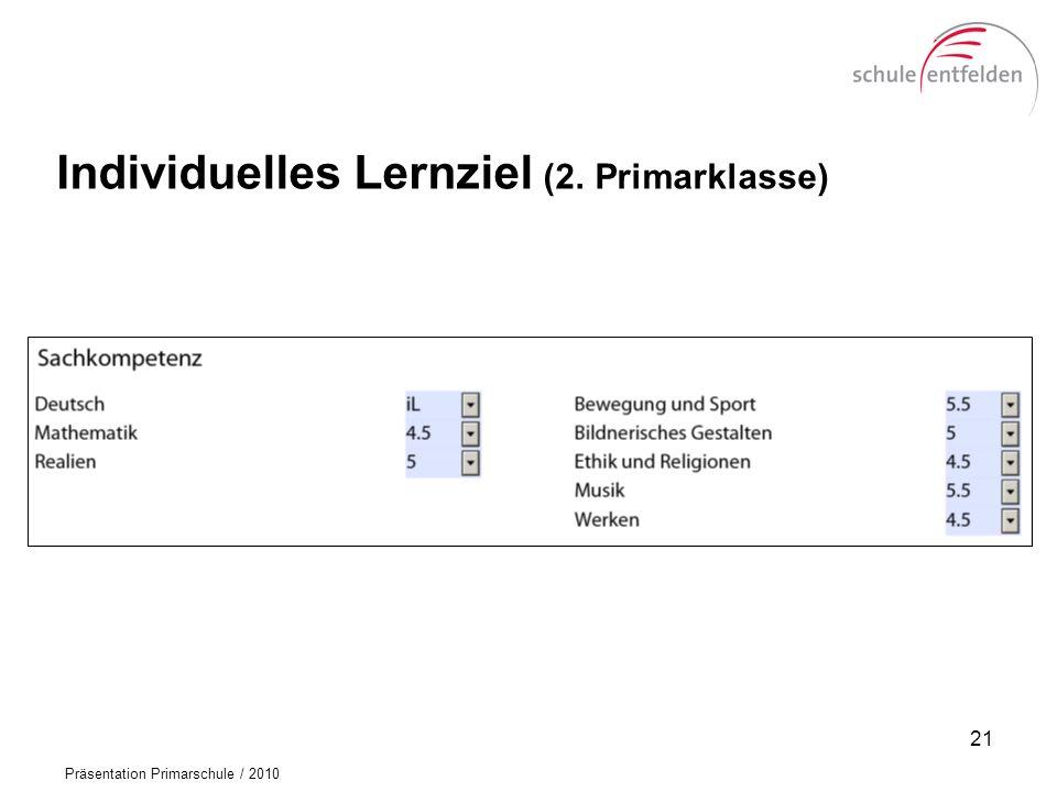 Präsentation Primarschule / 2010 Individuelles Lernziel (2. Primarklasse) 21
