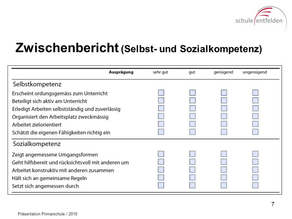 Präsentation Primarschule / 2010 Promotion 18