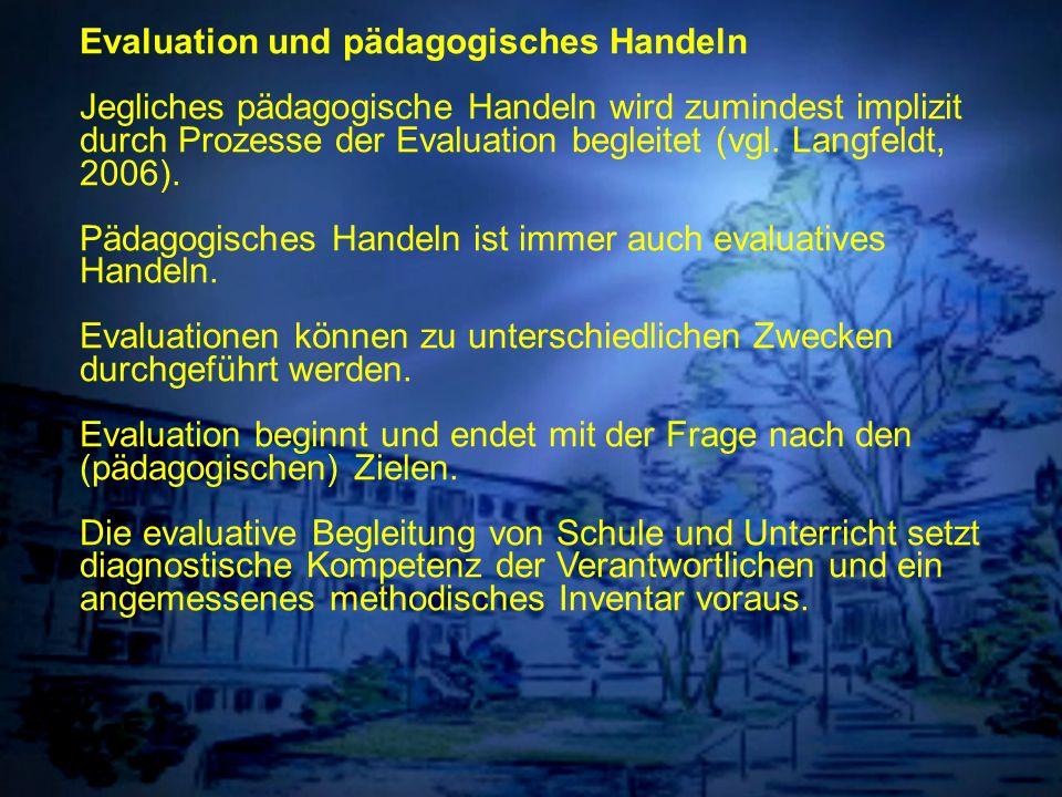 Individuelle Förderung Evaluation und pädagogisches Handeln Jegliches pädagogische Handeln wird zumindest implizit durch Prozesse der Evaluation begle