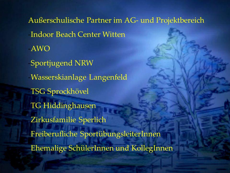 Individuelle Förderung Außerschulische Partner im AG- und Projektbereich -Indoor Beach Center Witten -AWO -Sportjugend NRW -Wasserskianlage Langenfeld
