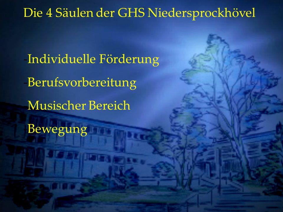 Individuelle Förderung Die 4 Säulen der GHS Niedersprockhövel -Individuelle Förderung -Berufsvorbereitung -Musischer Bereich -Bewegung