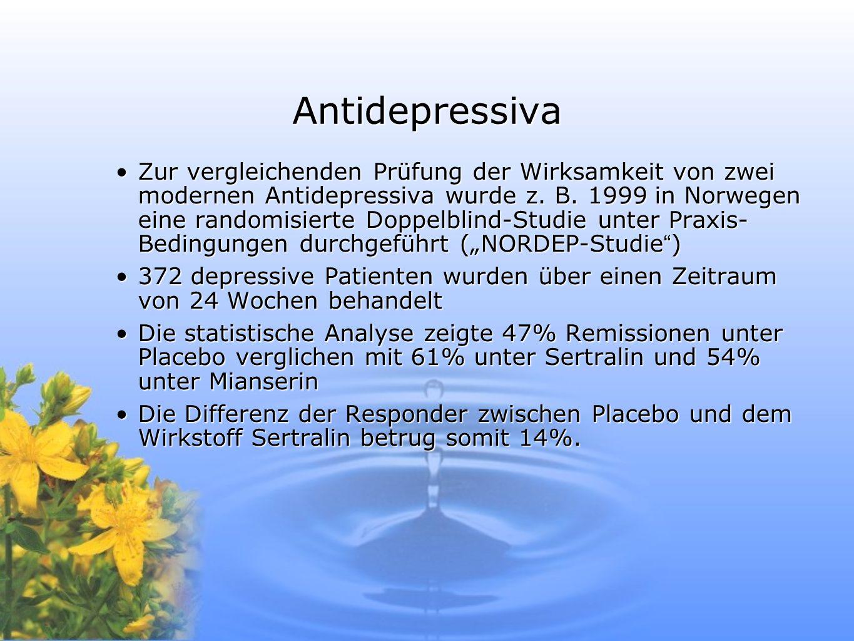 Antidepressiva Zur vergleichenden Prüfung der Wirksamkeit von zwei modernen Antidepressiva wurde z. B. 1999 in Norwegen eine randomisierte Doppelblind