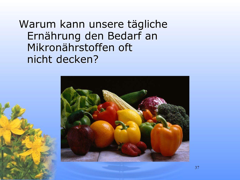 37 Warum kann unsere tägliche Ernährung den Bedarf an Mikronährstoffen oft nicht decken?