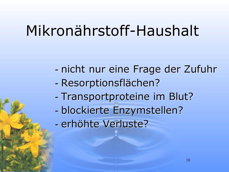 38 Mikronährstoff-Haushalt -nicht nur eine Frage der Zufuhr -Resorptionsflächen? -Transportproteine im Blut? -blockierte Enzymstellen? -erhöhte Verlus