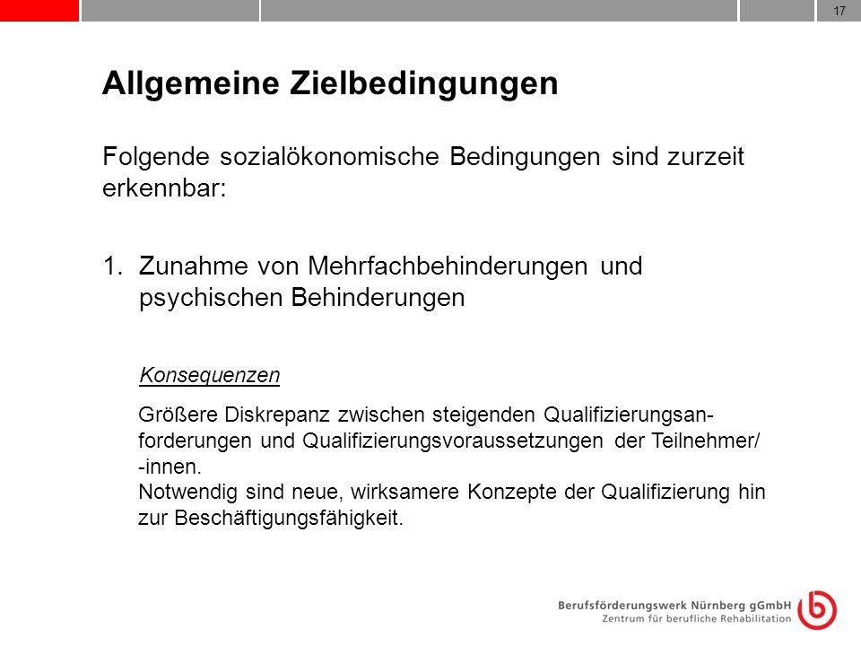 17 Allgemeine Zielbedingungen Folgende sozialökonomische Bedingungen sind zurzeit erkennbar: 1. Zunahme von Mehrfachbehinderungen und psychischen Behi