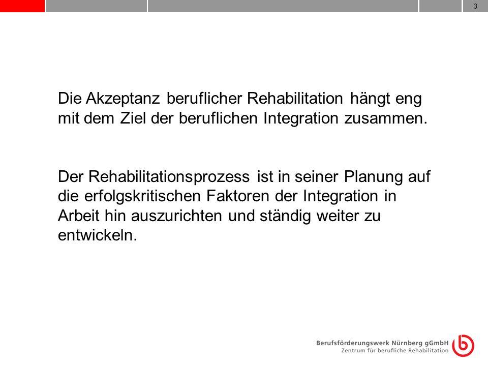 3 Die Akzeptanz beruflicher Rehabilitation hängt eng mit dem Ziel der beruflichen Integration zusammen. Der Rehabilitationsprozess ist in seiner Planu
