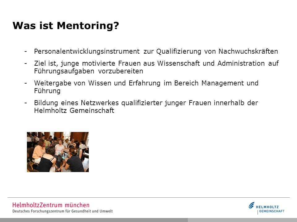 Was ist Mentoring? -Personalentwicklungsinstrument zur Qualifizierung von Nachwuchskräften -Ziel ist, junge motivierte Frauen aus Wissenschaft und Adm