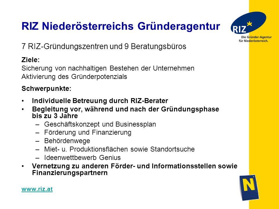 RIZ Niederösterreichs Gründeragentur 7 RIZ-Gründungszentren und 9 Beratungsbüros Ziele: Sicherung von nachhaltigen Bestehen der Unternehmen Aktivierun