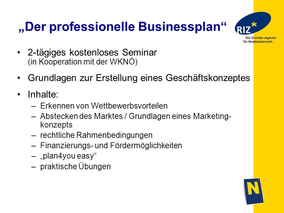 Der professionelle Businessplan 2-tägiges kostenloses Seminar (in Kooperation mit der WKNÖ) Grundlagen zur Erstellung eines Geschäftskonzeptes Inhalte
