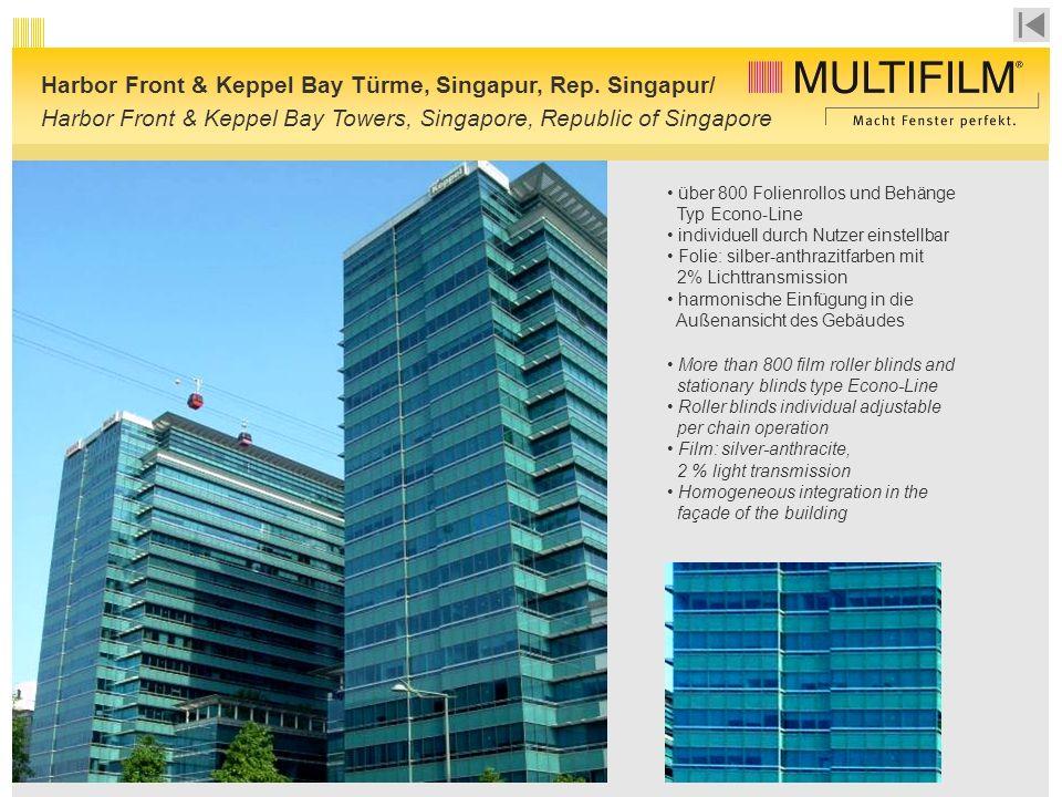 über 800 Folienrollos und Behänge Typ Econo-Line individuell durch Nutzer einstellbar Folie: silber-anthrazitfarben mit 2% Lichttransmission harmonische Einfügung in die Außenansicht des Gebäudes Harbor Front & Keppel Bay Türme, Singapur, Rep.