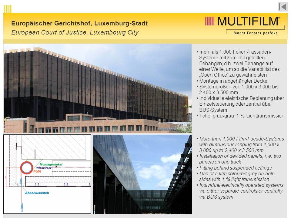 mehr als 1.000 Folien-Fassaden- Systeme mit zum Teil geteilten Behängen, d.h.