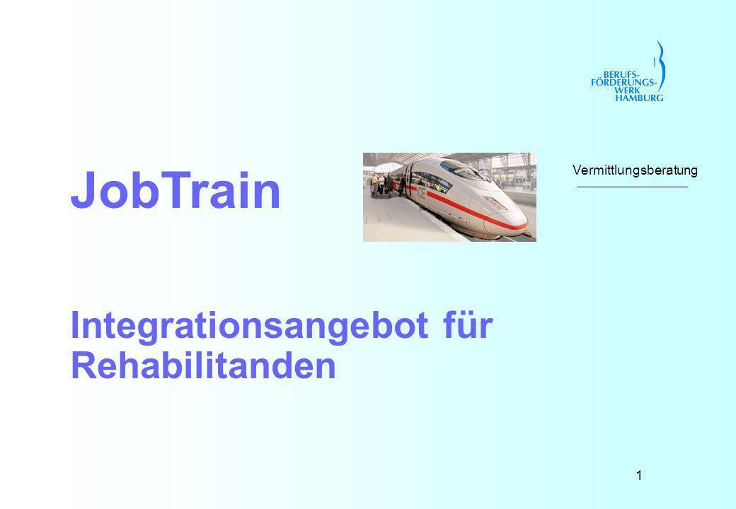 1 JobTrain Integrationsangebot für Rehabilitanden Vermittlungsberatung