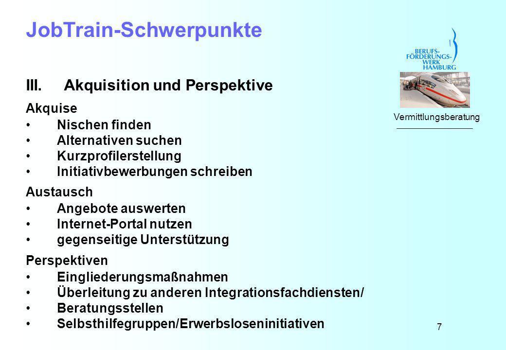 7 JobTrain-Schwerpunkte III.