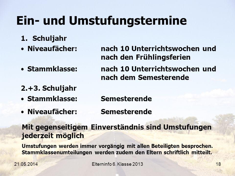 Elterninfo 6.Klasse 201318 Ein- und Umstufungstermine 2.+3.