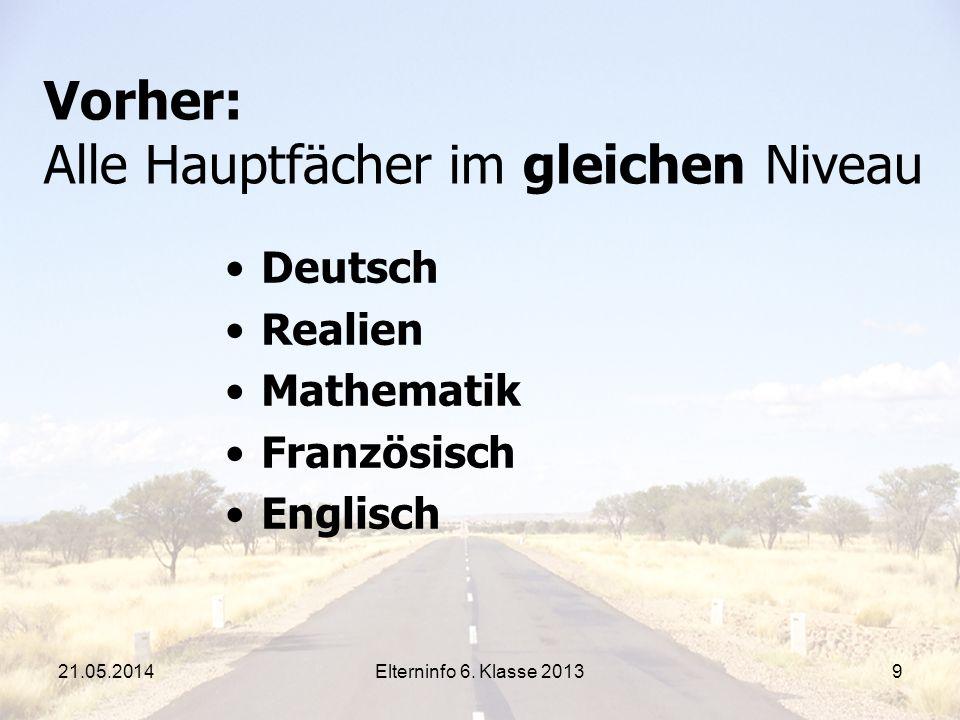 Elterninfo 6. Klasse 20139 Vorher: Alle Hauptfächer im gleichen Niveau Deutsch Realien Mathematik Französisch Englisch 21.05.2014