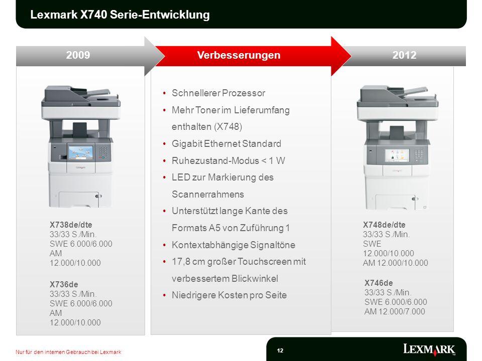 Nur für den internen Gebrauch bei Lexmark 12 X748de/dte 33/33 S./Min. SWE 12.000/10.000 AM 12.000/10.000 X738de/dte 33/33 S./Min. SWE 6.000/6.000 AM 1