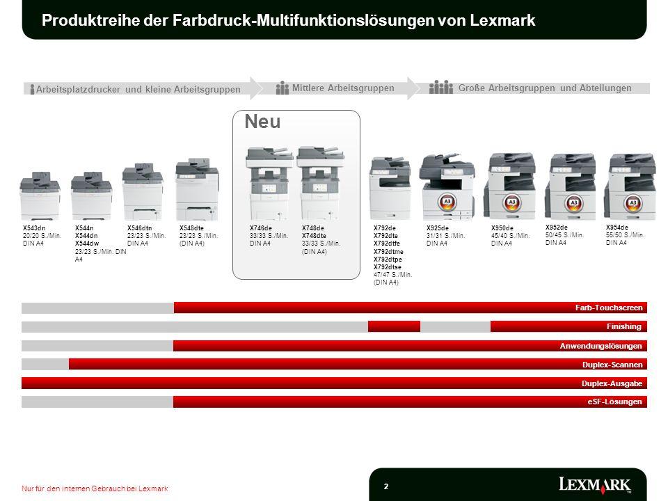 Nur für den internen Gebrauch bei Lexmark 2 Neu Produktreihe der Farbdruck-Multifunktionslösungen von Lexmark Mittlere Arbeitsgruppen Arbeitsplatzdruc